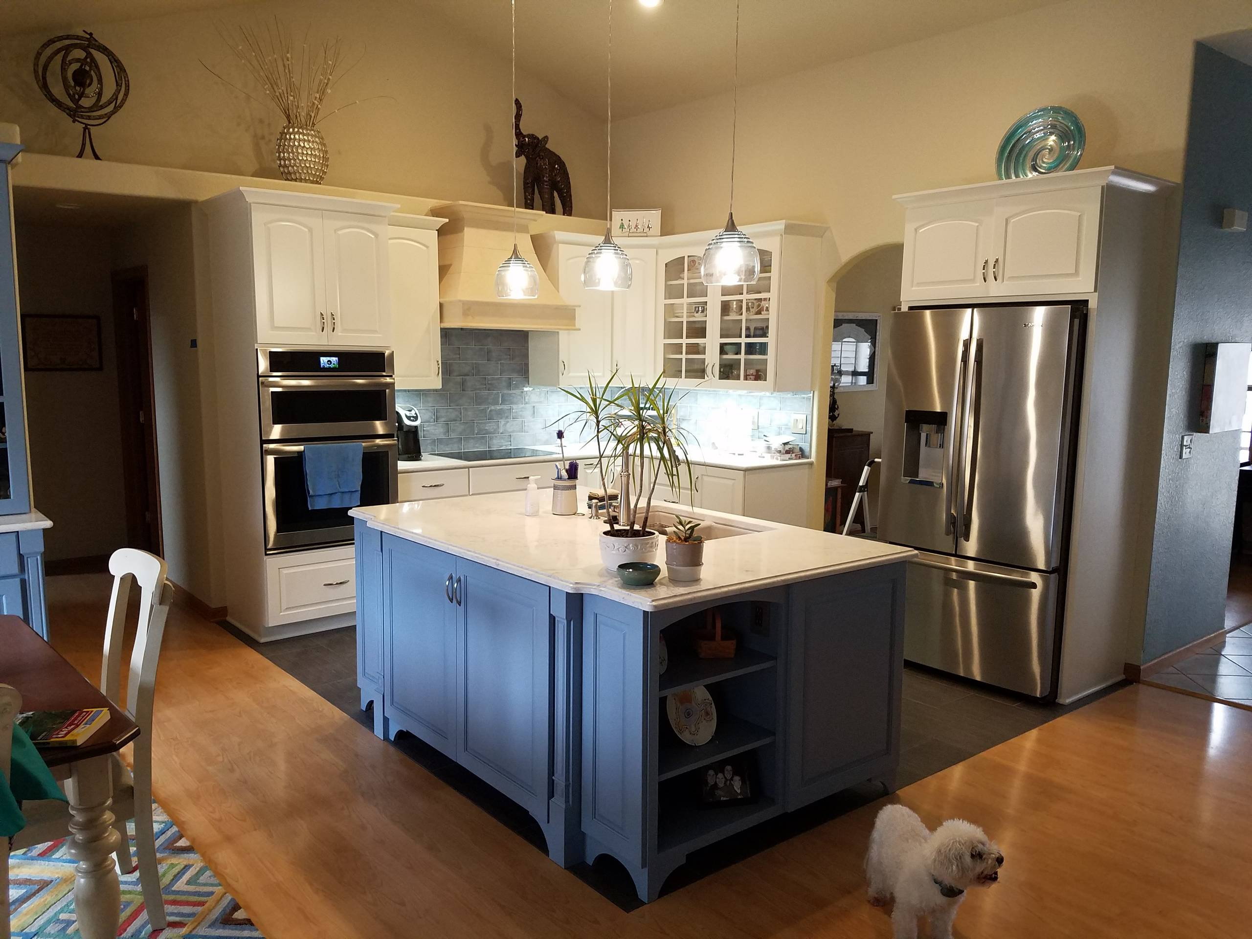 Kitchen with painted cabinetry