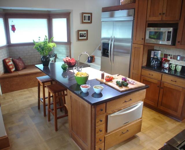 kitchen with parquet flooring - traditional - kitchen