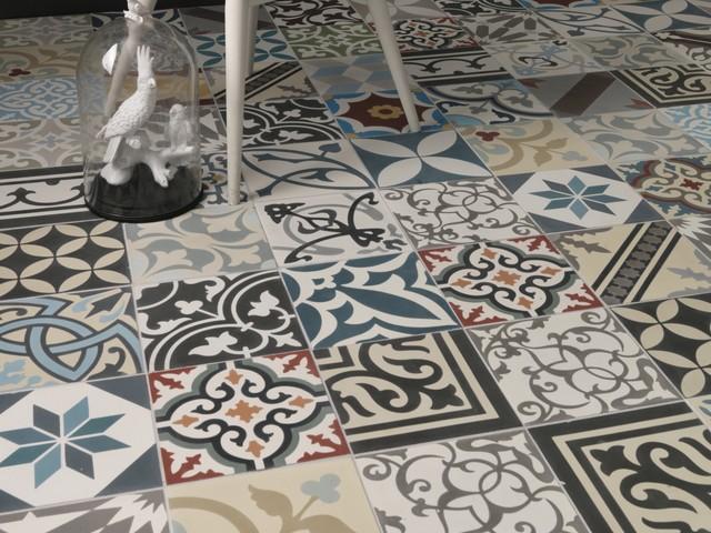 Kitchen With Patchwork Spanish Inspired Floor Tiles Mediterranean