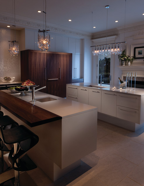 Kitchen with prep island and seating island modern for Kitchen island houston