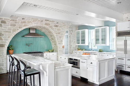 kitchen with robin's egg blue backsplash contemporary-kitchen
