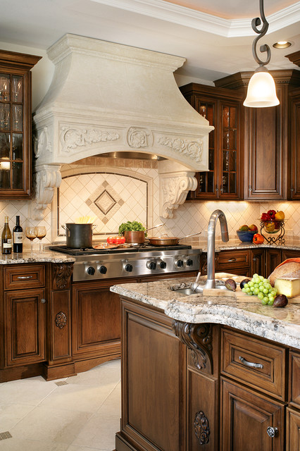 Kitchen with Stone Hood Focal Point traditional-kitchen