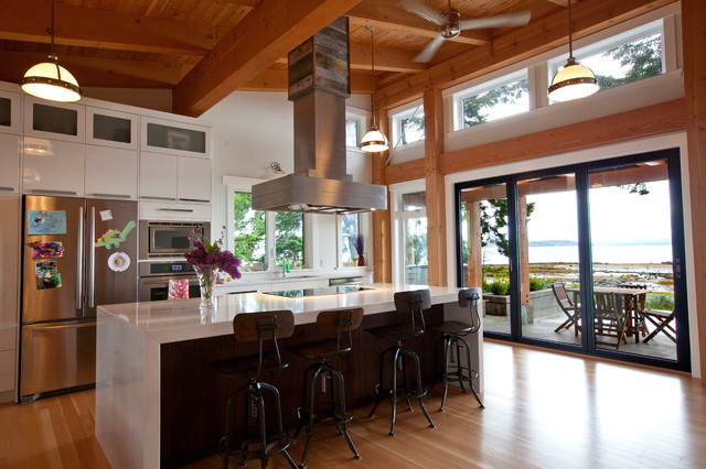 Kitchen with TImber Frame Ceiling - Contemporary - Kitchen - Vancouver - by Island TimberFrame Ltd.