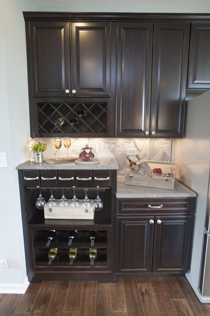 Kitchen With Walk Up Wine Bar