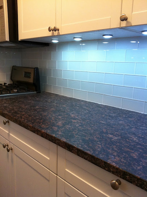 Kitchen with white glass subway tiles backsplash Glass subway tile backsplash