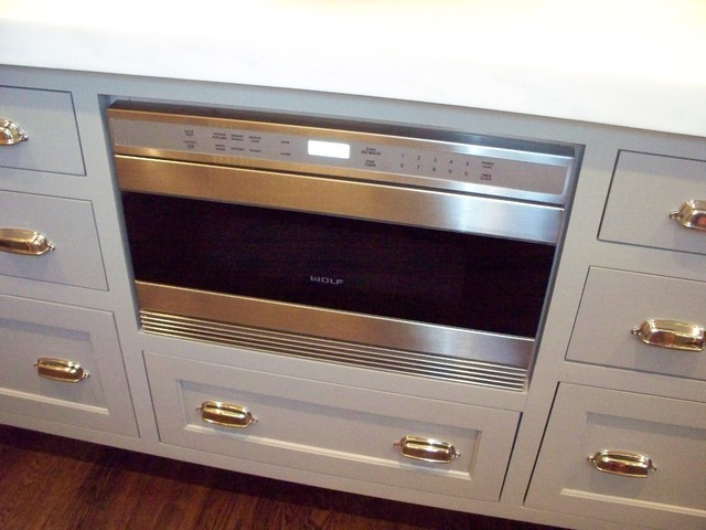 Kitchen With Wolf Microwave Drawer Built Into Island Kitchen