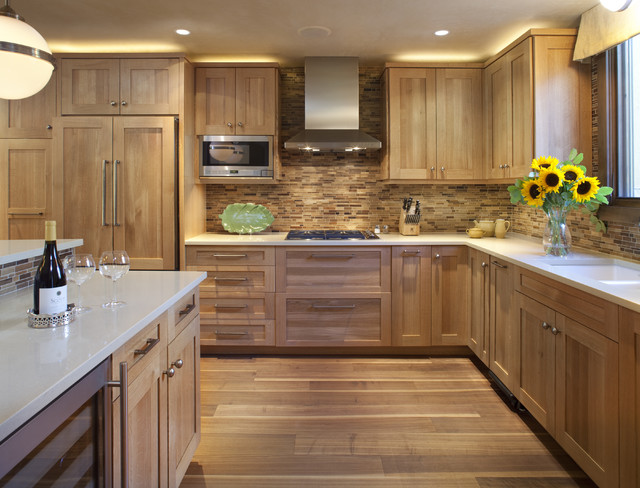Kitchen with Wooden Tile Backsplash contemporary kitchen