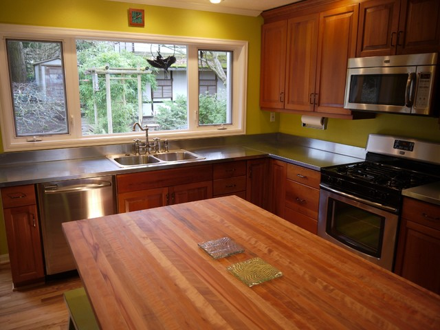 Kitchen Butcher Block Island Tops : Kitchen with zink counter tops and madrone butcher block island