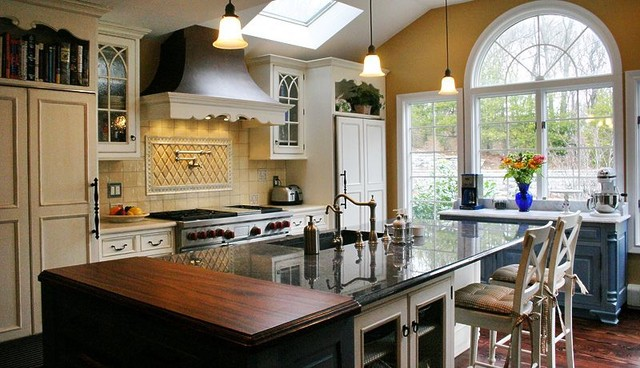 Exceptional Kitchen Work Stations, Design, White, Wood Countertop, Blue Traditional  Kitchen