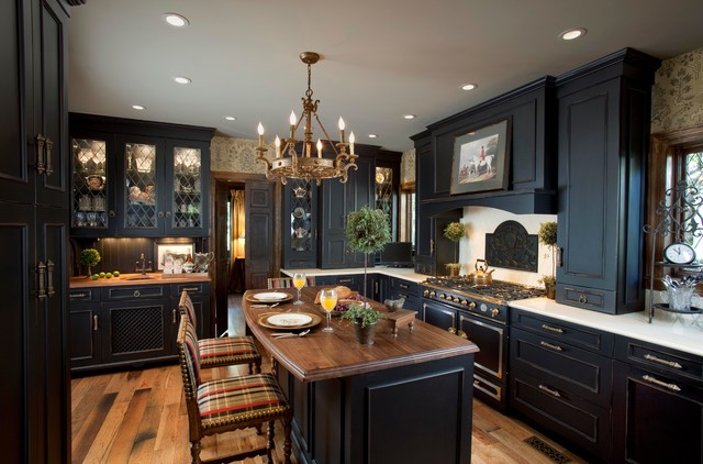 Great Kitchen   Victorian Kitchen Idea In New York With Black Cabinets, Wood  Countertops, Beige Great Pictures