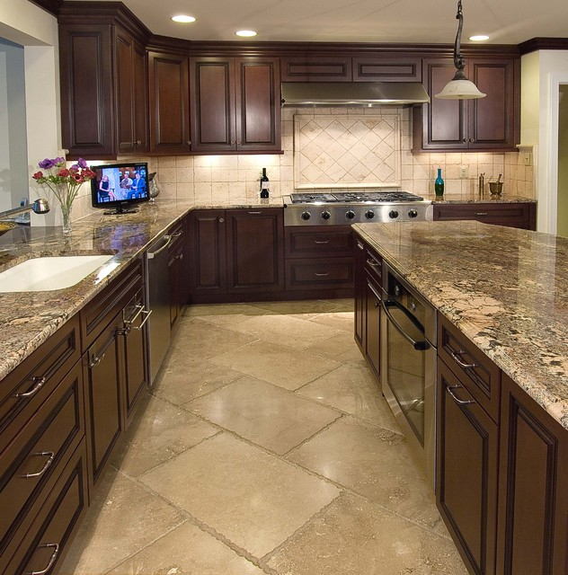 Kitchen Floor Tile Dark Cabinets: Kitchens And Backsplashes
