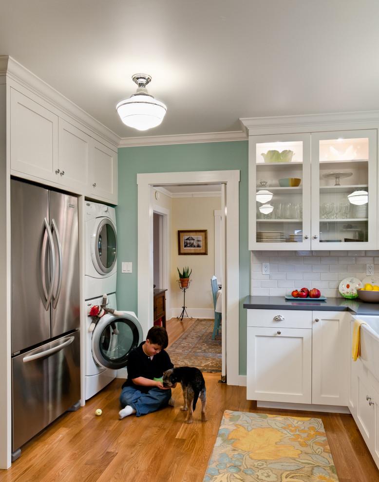 Elegant kitchen photo in San Francisco with a farmhouse sink