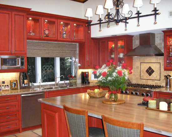 kitchen hardware L shaped Kitchen Design Photos with Red Cabinets