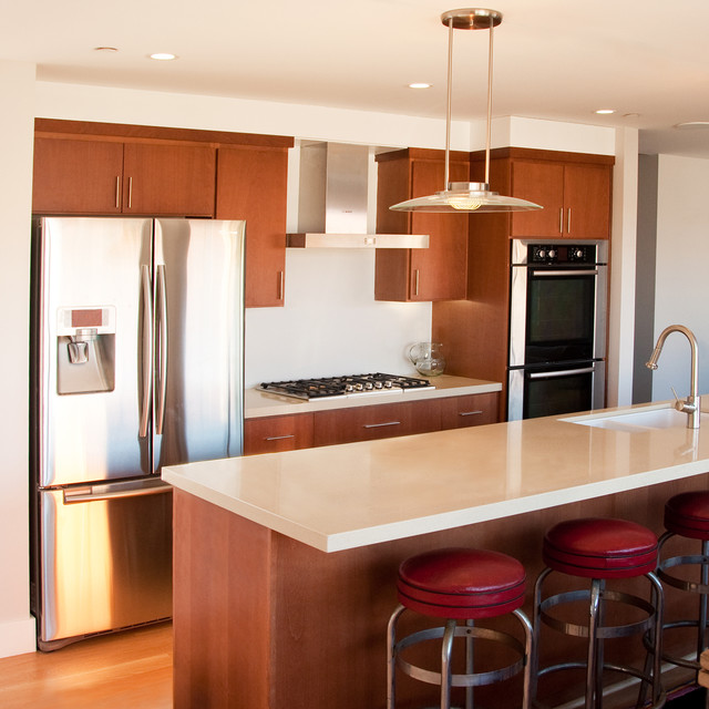 Example Of A Mid Sized Trendy Galley Medium Tone Wood Floor Open Concept  Kitchen Design