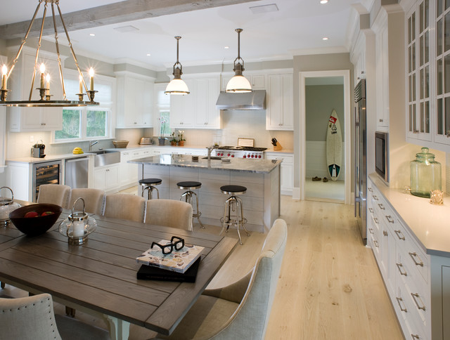 Example Of A Mountain Style Kitchen Design In New York With White Cabinets,  White Backsplash
