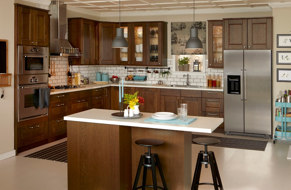 Example of a trendy l-shaped kitchen design in Other