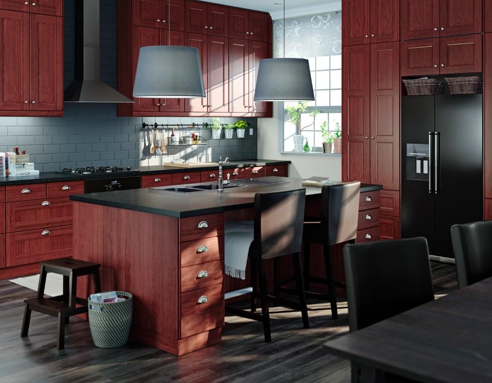 Kitchen - contemporary dark wood floor kitchen idea in Other with a double-bowl sink, medium tone wood cabinets, gray backsplash, subway tile backsplash and black appliances