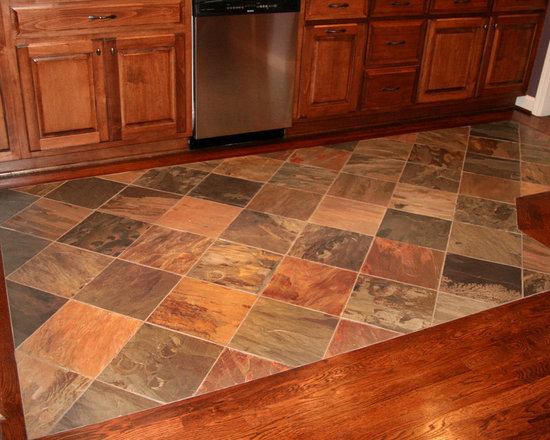 Traditional wood floor with tile inlay home design photos for Hardwood floor tile kitchen