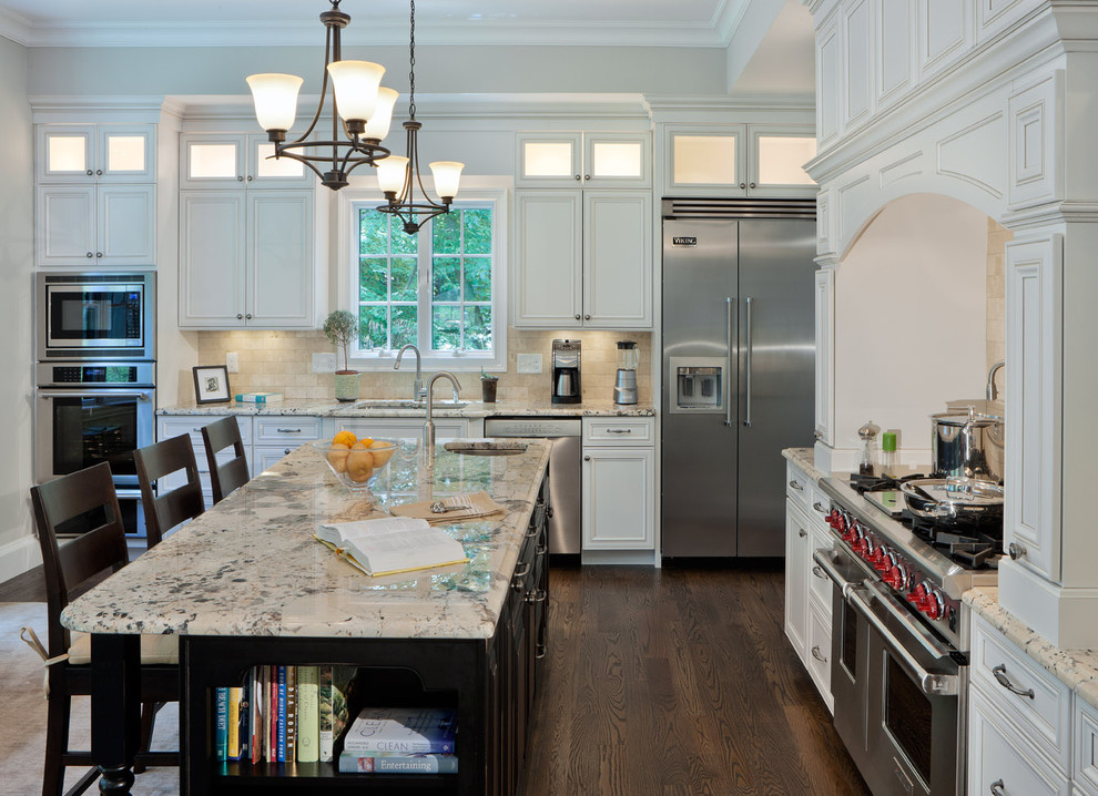 Kitchen - contemporary kitchen idea in Boston with an undermount sink, recessed-panel cabinets, white cabinets and stainless steel appliances