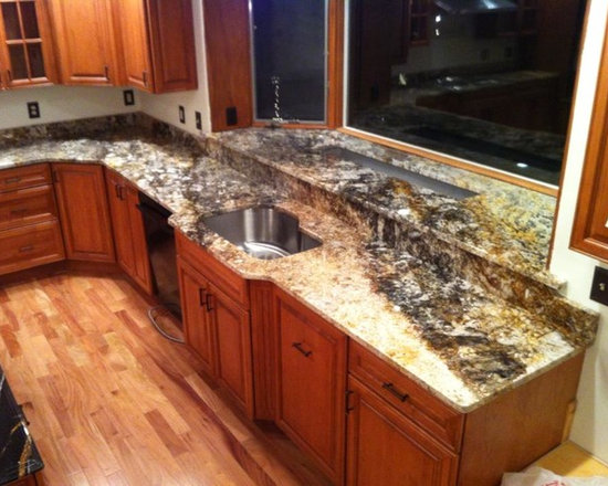 Wood Countertop Kitchen Design Ideas, Remodels & Photos with Linoleum ...