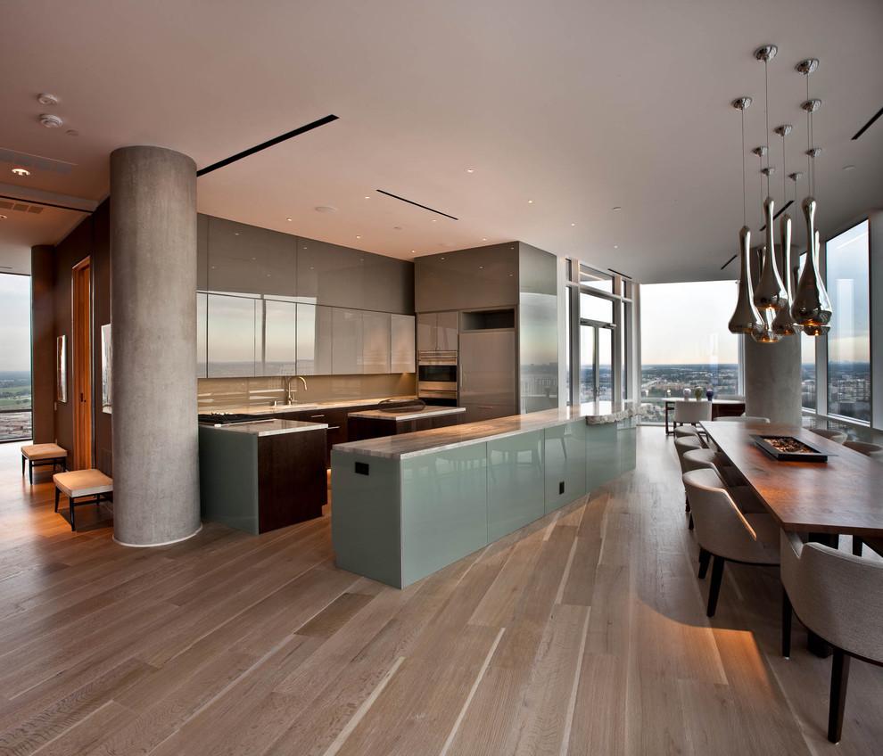 Inspiration for a modern u-shaped open concept kitchen remodel in Dallas with flat-panel cabinets, brown backsplash and glass sheet backsplash