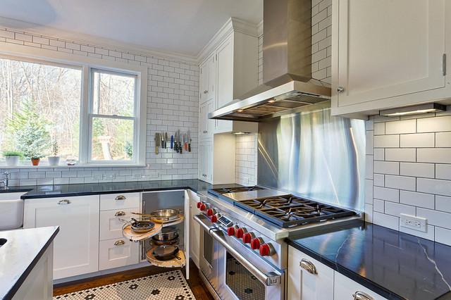corner cabinets kitchen. Craftsman galley eat in kitchen idea New York with a farmhouse sink  shaker Kitchen Corner Cabinet Houzz