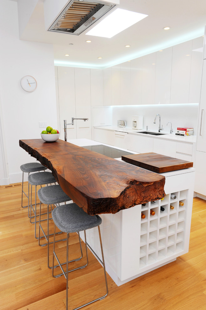 Kitchen - eclectic u-shaped kitchen idea in San Francisco with a double-bowl sink, flat-panel cabinets, white cabinets, wood countertops and white countertops