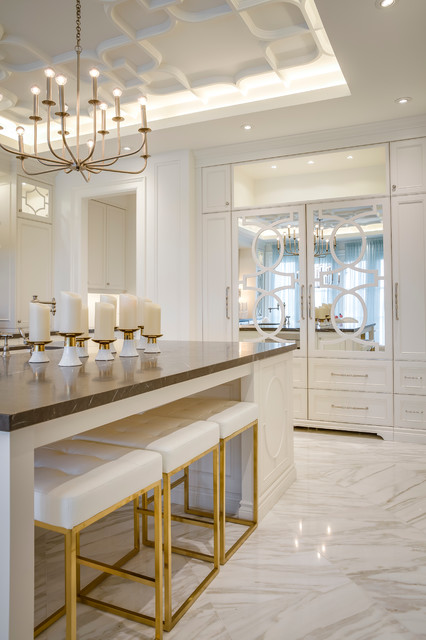 Inspiration for a large modern single-wall marble floor enclosed kitchen remodel in Toronto with a double-bowl sink, raised-panel cabinets, white cabinets, marble countertops, black backsplash, stone slab backsplash, paneled appliances and an island