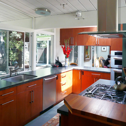 Klopf Architecture Kitchen With Pass Through Midcentury kitchen