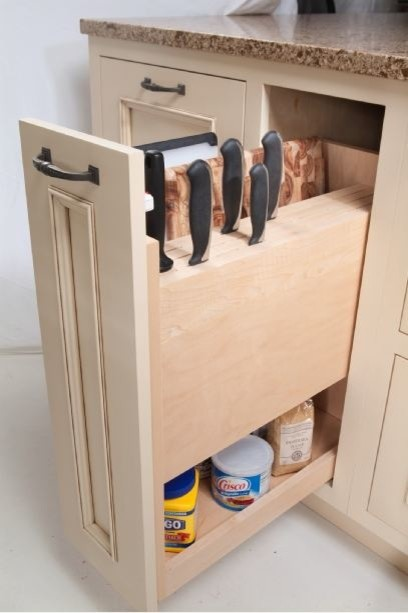 Knife block storage: Storage & organization options for Cabinetry - Traditional - Kitchen ...