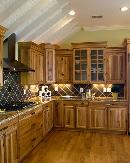 Are these the hickory cabinets or are they the rustic hickory for Hickory kitchen cabinets