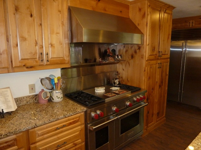 Knotty alder cabinets eclectic kitchen other by for Alder kitchen cabinets