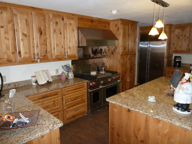 Knotty Alder Cabinets Eclectic Kitchen