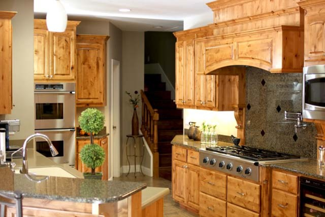 Knotty Alder Custom Cabinets - Traditional - Kitchen ...