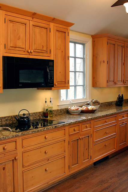 Knotty pine cabinets, granite counter-top - Traditional - Kitchen - DC Metro - by Heritage ...