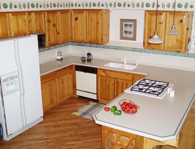 Knotty Pine Cabinets Pine Kitchen White Fridge Traditional Kitchen