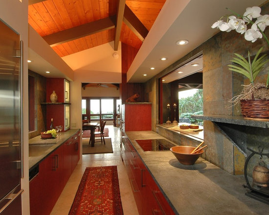 Tropical galley kitchen kitchen design ideas remodels for Tropical kitchen decor
