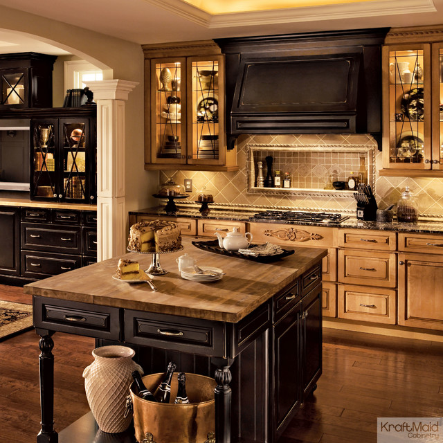 KraftMaid Cabinetry In Burnished Ginger Vintage Onyx - Kraftmaid kitchen island