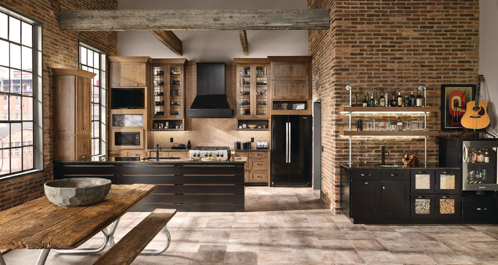 Mid-sized urban single-wall porcelain tile and brown floor open concept kitchen photo in Richmond with shaker cabinets, medium tone wood cabinets, black appliances, a peninsula and an undermount sink