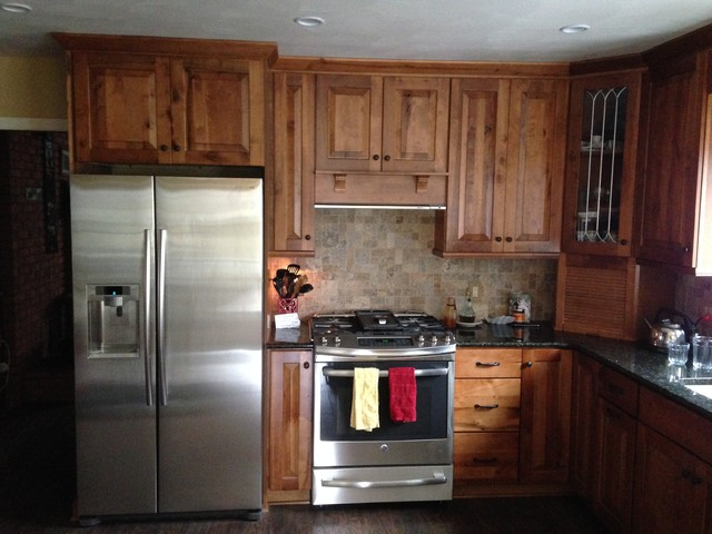 Inspiration For A Rustic Kitchen Remodel In Other With Raised Panel Cabinets Distressed