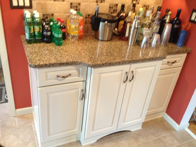 KraftMaid Canvas Painted Cabinets with Quartz Countertop traditional-kitchen
