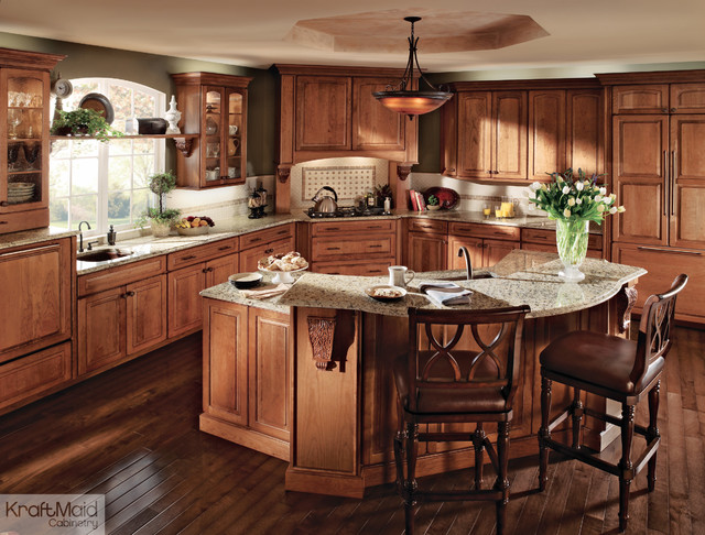 Kraftmaid cherry cabinetry in burnished ginger for What is traditional kitchen