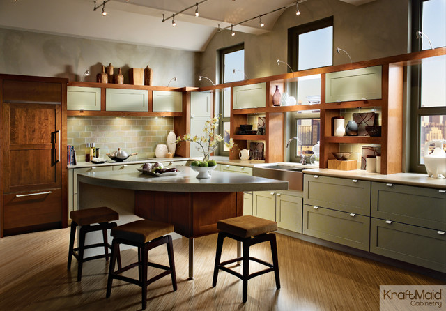 KraftMaid Cherry Cabinetry in Cinnamon & Maple Cabinetry in Willow