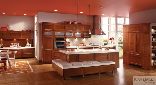KraftMaid Cherry Cabinetry in Cinnamon  Contemporary  Kitchen  by