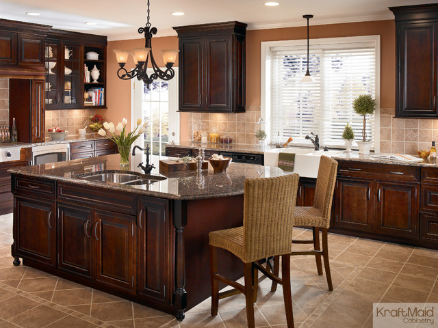 KraftMaid: Cherry Peppercorn Cabinetry in Ginger with Sable Glaze - Traditional - Kitchen ...