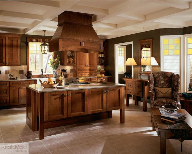 KraftMaid: Cherry Recessed Door in Cognac - Rustic ...