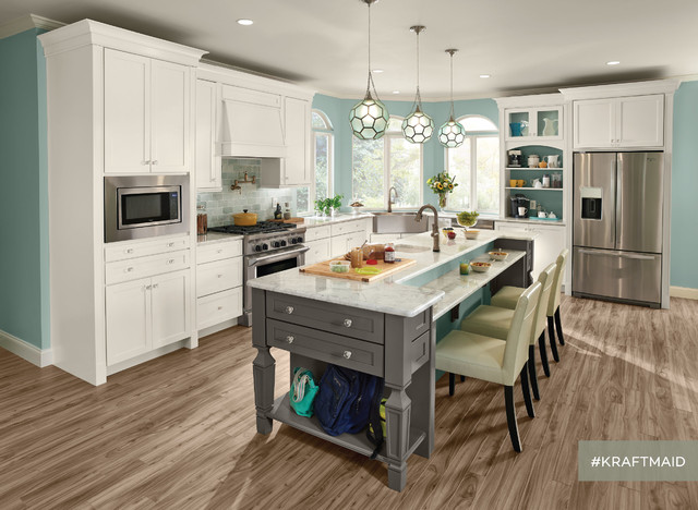 KraftMaid: EverCore Kitchen Cabinetry in Dove White and Greyloft - Traditional - Kitchen ...