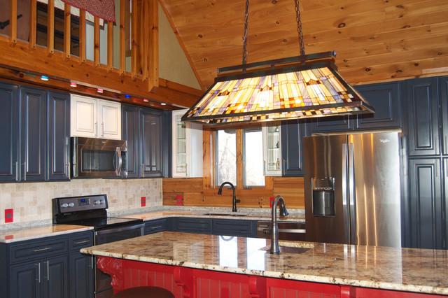 Kraftmaid Jamestown Midnight Cardinal Canvas Maple Farmhouse Kitchen