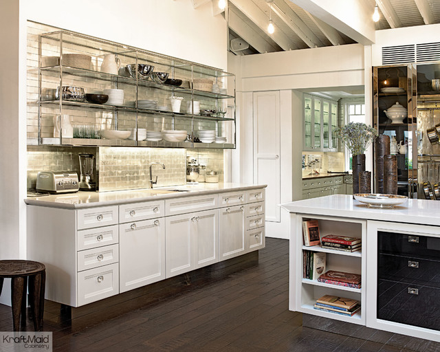 Kraftmaid Maple Cabinetry In Dove White Transitional