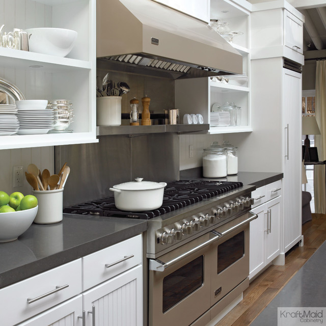 Kraftmaid Maple Cabinetry In Dove Whitetransitional Kitchen New York